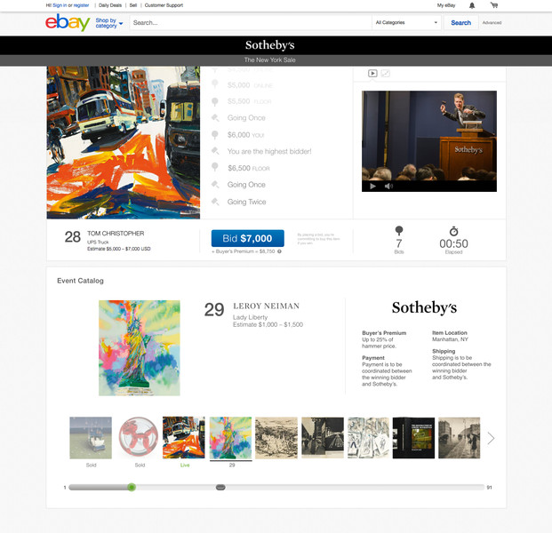 Sotheby's to start live art auctions on eBay