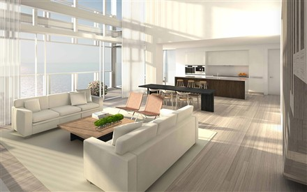 miami beach penthouse living room