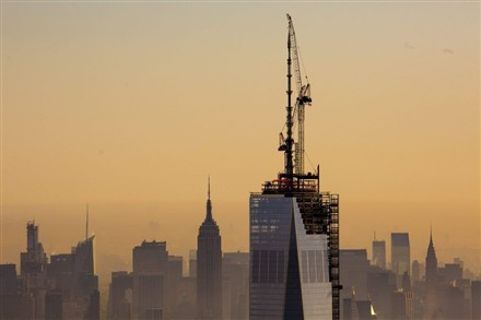 World Trade Center spire completed in New York