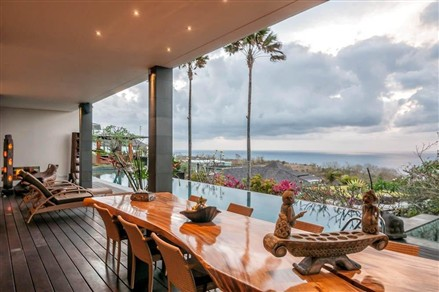 Dining room with pool view